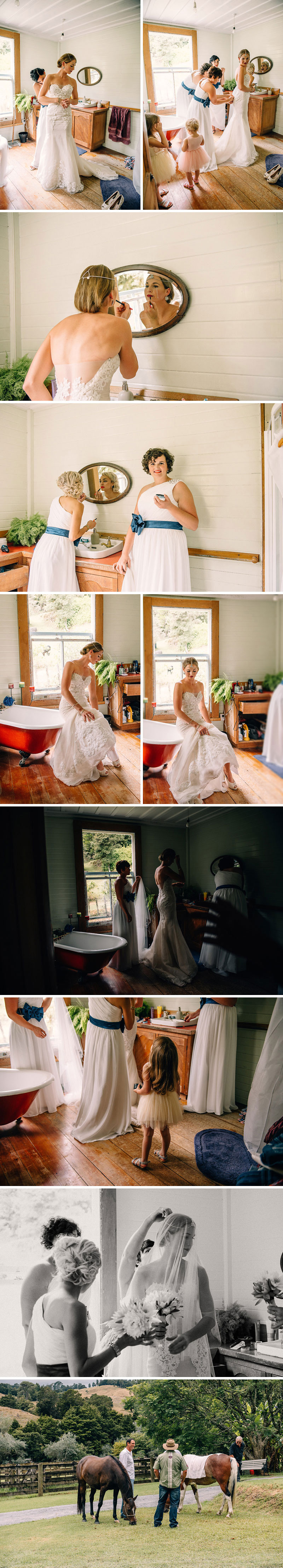 The girls getting ready at Wedding in Northland