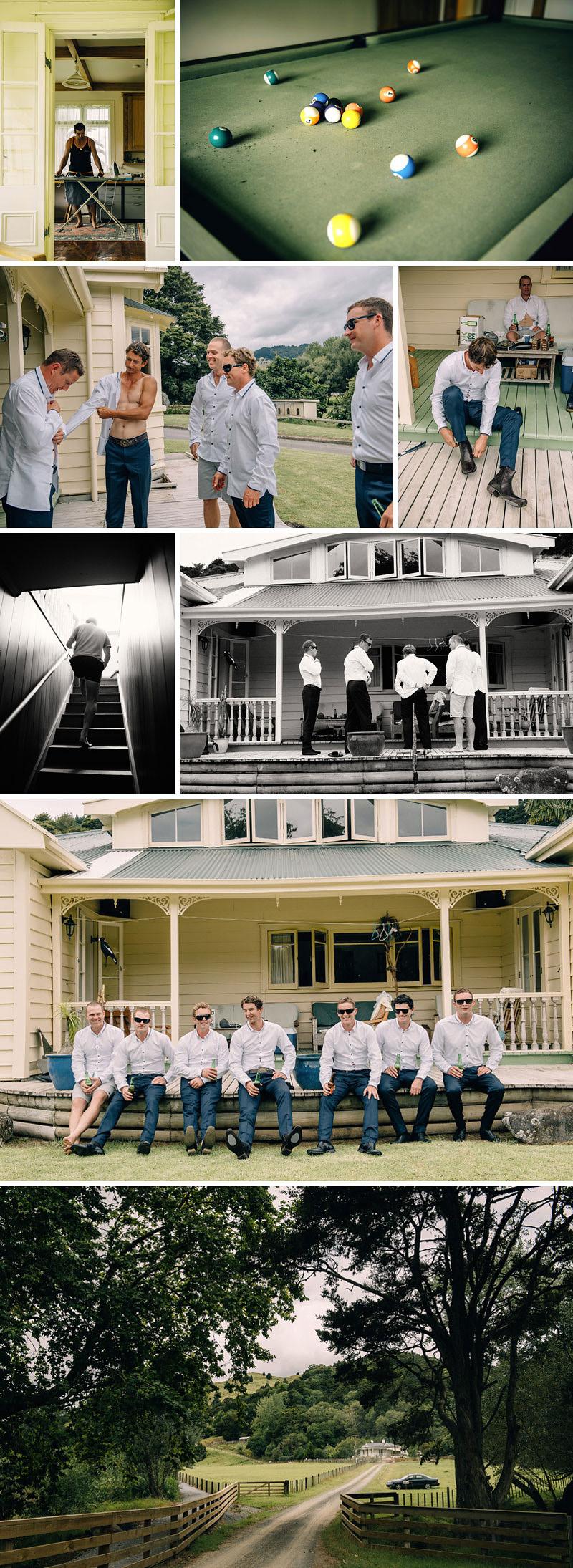 Farm Wedding Northland New Zealand, the guys getting ready